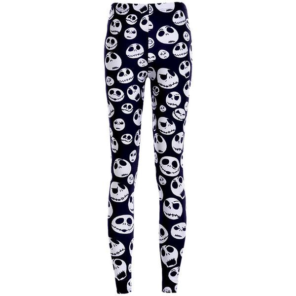 Womens White Stylish Skull Printed Skeleton Leggings Black ($11) ❤ liked on Polyvore featuring pants, leggings, bottoms, jeans, black, white trousers, skull leggings, white pants, black pants en black trousers