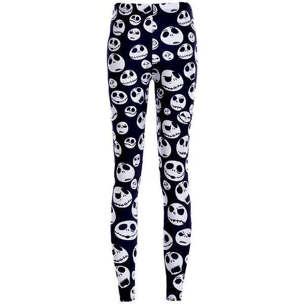 Womens White Stylish Skull Printed Skeleton Leggings Black (41 BRL) ❤ liked on Polyvore featuring pants, leggings, bottoms, jeans, black, black skull leggings, white trousers, skull pants, skull leggings and black pants
