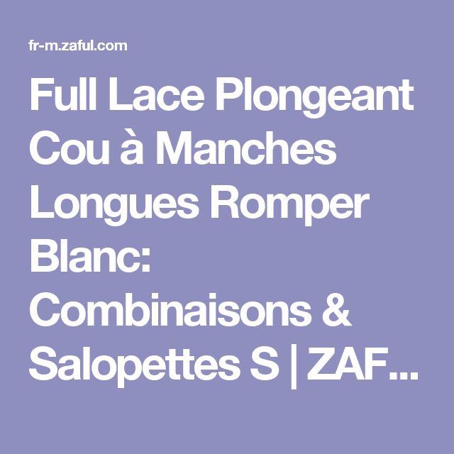 Full Lace Plongeant Cou à Manches Longues Romper Blanc: Combinaisons & Salopettes S | ZAFUL