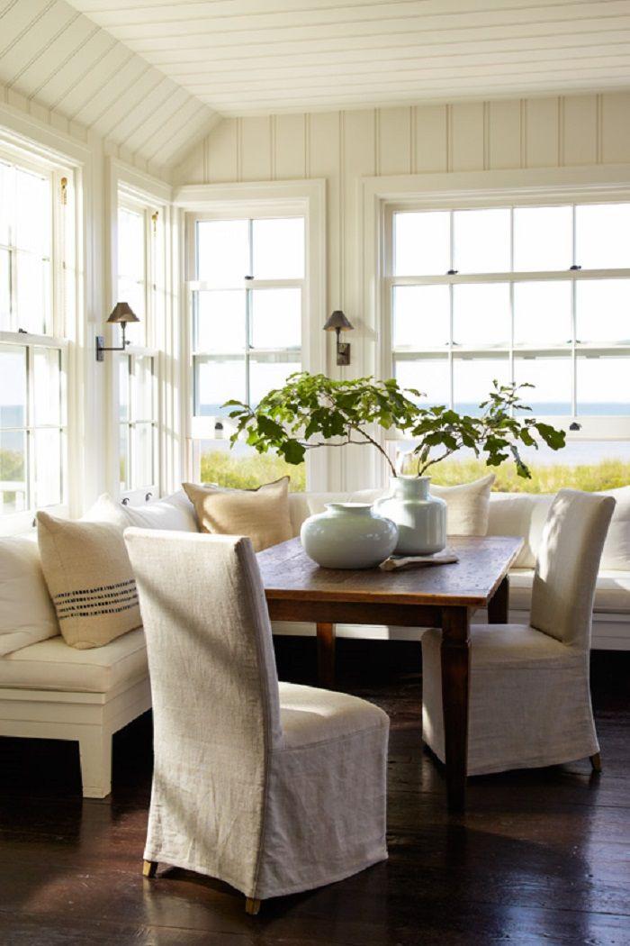 Corner nook. Mixed bench and chair ensemble. #CHIC COASTAL LIVING: Hamptons Beach House: A Wainscott Beauty