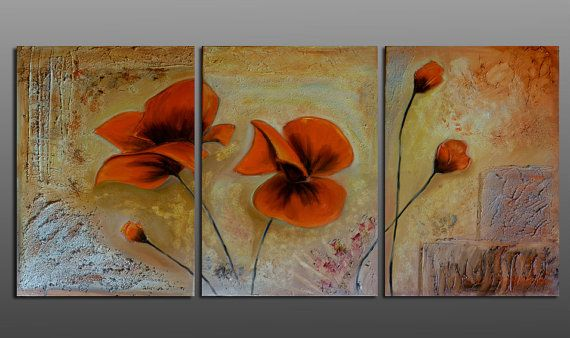 Poppies triptych original mixed media . Modern by artstudioAreti