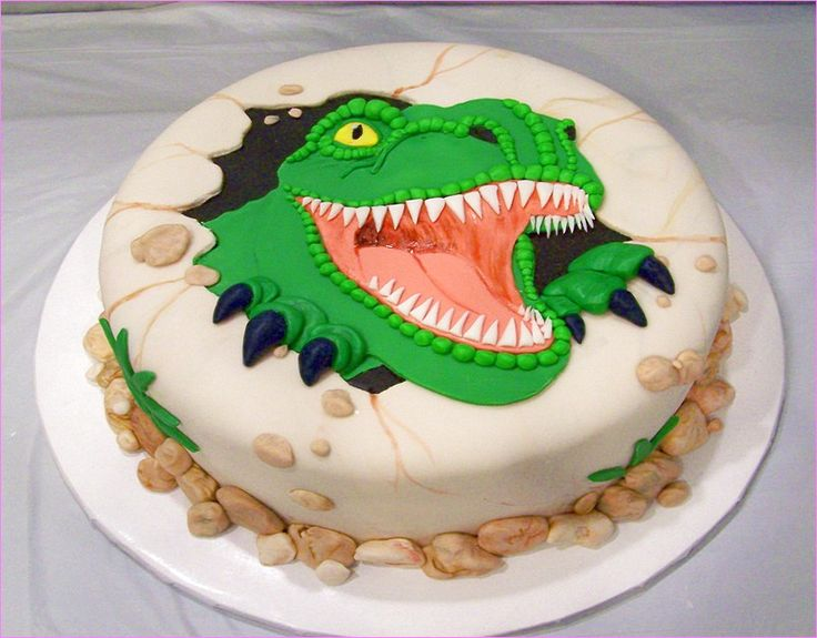 how to make a t rex birthday cake
