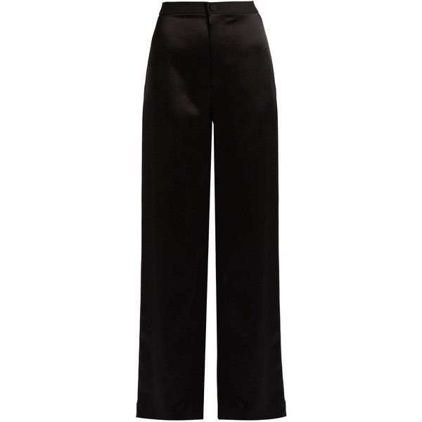 Lanvin High-waisted satin trousers ($1,240) ❤ liked on Polyvore featuring pants, black, holiday pants, satin pants, highwaist pants, side stripe pants and high-waisted trousers
