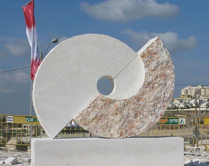 """Rotation"". 2009.  Hevron stone.  170 x 230 x 50 cm.  Modiin, Israel."