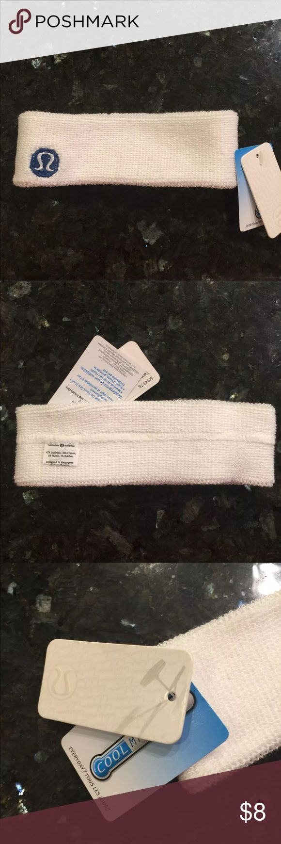 Lululemon terry sweat headband NWT Lululemon Terry sweat headband  New with Tag  White terry fabric  Great for hoy yoga (my experience) lululemon athletica Accessories Hair Accessories