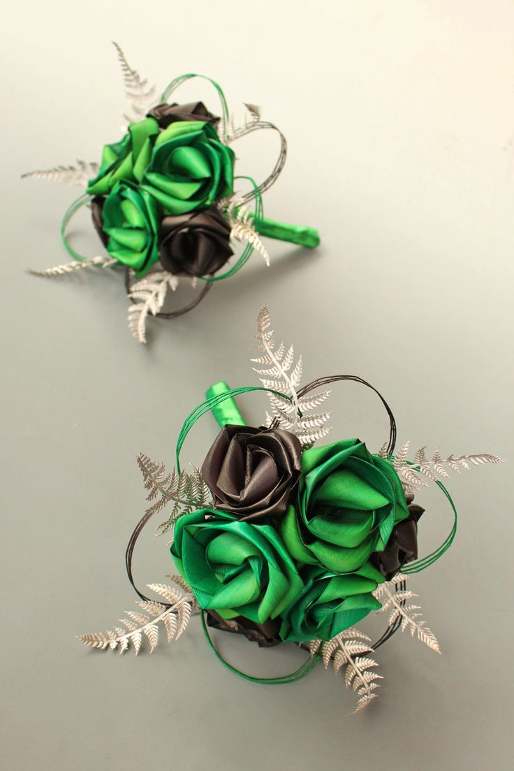 Bridesmaid six flower bouquets in bright green & black with silver fern (very kiwi) and loops  www.flaxation.co.nz