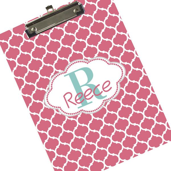 Monogrammed Name & Initial Clipboard Personalized Clip Board Salmon... ($24) ❤ liked on Polyvore featuring home, home decor, office accessories, home & living, office, office & school supplies, silver, personalized clip boards, personalized clipboards and dry erase