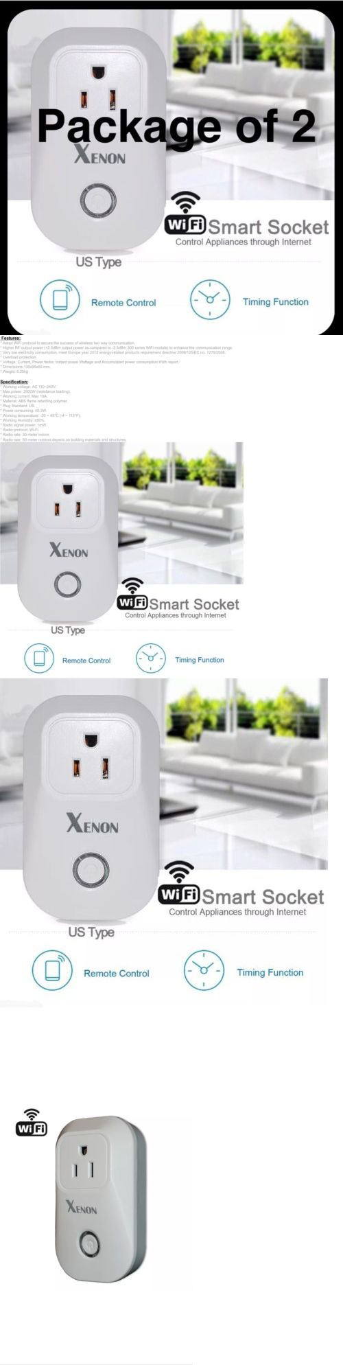 Controls and Touchscreens: 2 Xenon Smart Wifi Socket Plug (Control Appliances With App) Alexa Comp On/Off? BUY IT NOW ONLY: $38.99