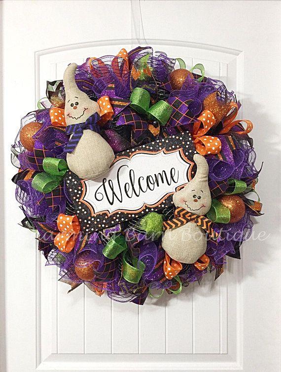 Halloween Wreath, Welcome Wreath, Front Door Wreath, Ghost Wreath