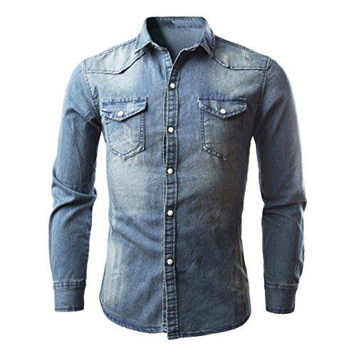 Camisa Vaquera Hombre con Botones a Presión Camisa deportivas casual de manga larga Blusa Retra Slim Tops Camiseta Otoño Primavera Invierno…