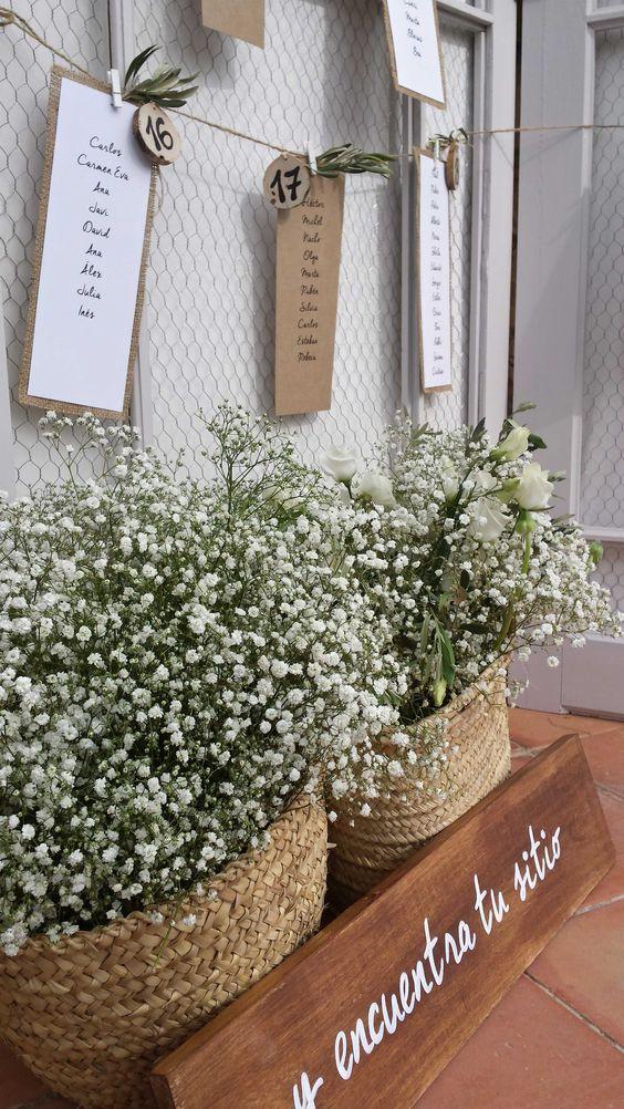 La decoración natural está de moda y llega a las bodas. ¡Aprovecha las cestas para darle ese toque rústico-vintage tan deseado!