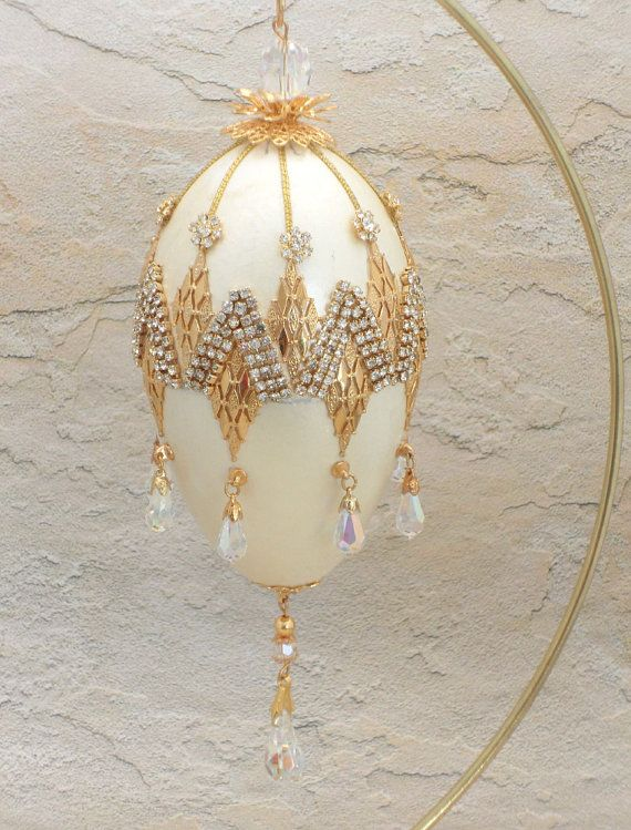 Bedazzled Faberge Style Hanging Goose Egg, Egg Ornament w Swarovski Jewels, Faberge Egg Art from Goose Egg