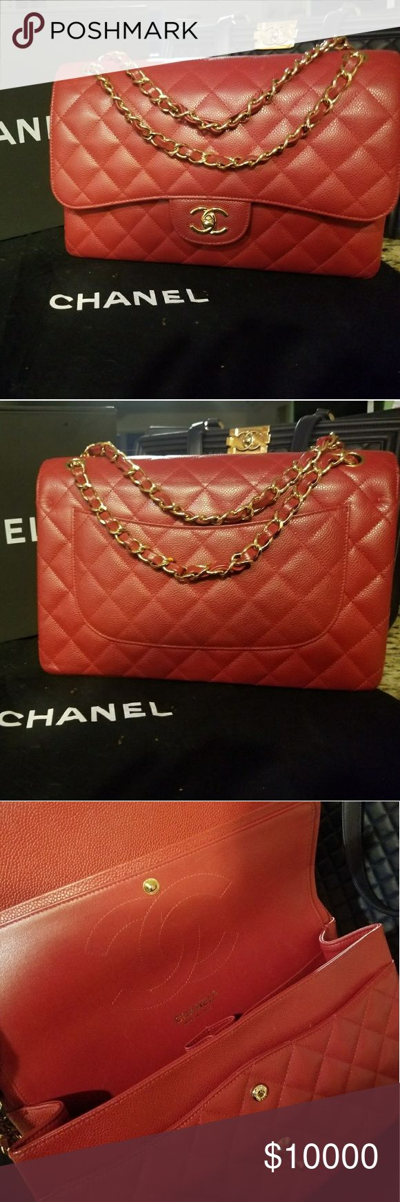 CHANEL CLASSIC JUMBO CAVIAR PURSE ***NOT LOOKING TO SELL YET***  11.8″ W x 7.7″ H x 3.9″D  Caviar Leather CHANEL Bags