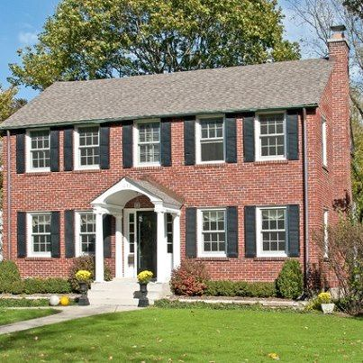 Brick Colonial House With Porch Picture Bing Images