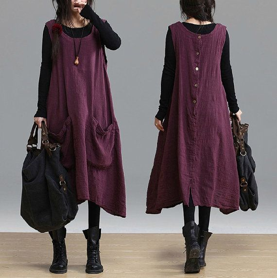 Big Pocket Loose Fitting Long Maxi Dress  Purple Red  by deboy2000, $74.00