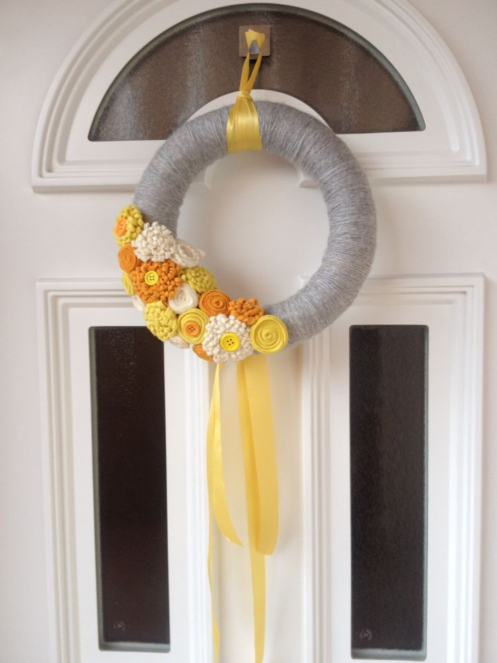 Spring decoration with handmade flowers I Easter wreath I Door decor I Tavaszi ajtódísz
