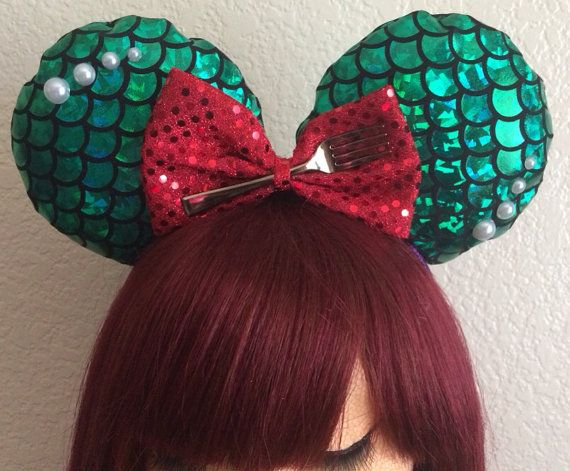 I need a pair of theses!!!!! Little mermaid scale Mickey ears by BlackHeartBows on Etsy, $35.00