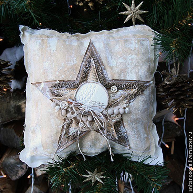 """Купить Декоративная рождественская подушка """"Аромат Рождества"""" - бежевый, подушка, подушка декоративная, подаро"""