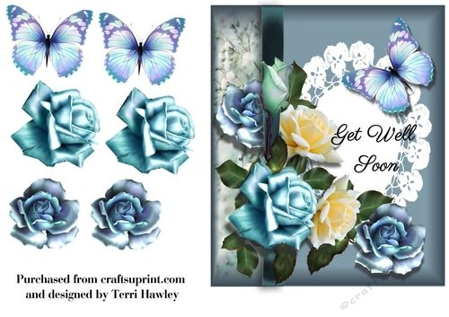 Very pretty 6x7 3D decoupage card front, very easy to make, and fits any A5 envelope when finished..  It has beautiful blue and yellow roses,.   The same card also comes with the greetings of Happy Birthday, Sent with love.and Thinking of you..