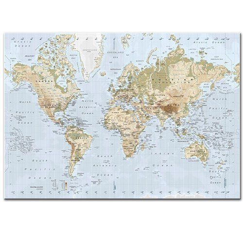 New Ikea Premiar World Map Picture With Frame Canvas Large