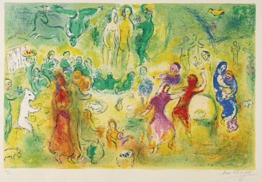 Marc Chagall (1887-1985), Wedding Feast in the Nymphs' Grotto (1960), lithograph printed in colors on Arches wove paper, 64.2 x 42 cm (image), from Daphnis and Chloe, published by Verve, Paris. Via Sotheby's.
