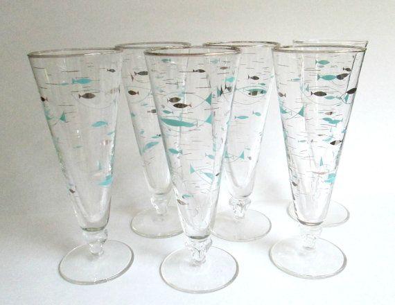 Atomic Beer Glass Pilsner Set Libbey Mid by looseendsvintage, $40.00