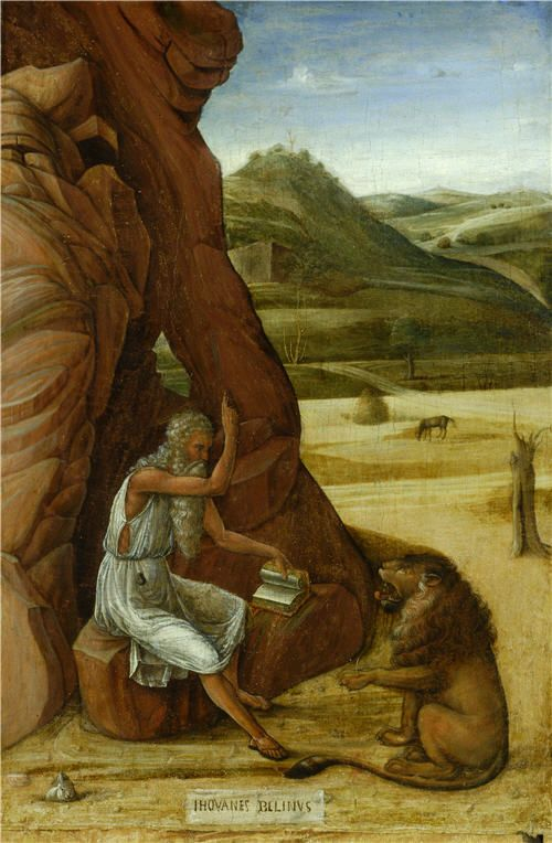Saint Jerome in the Wilderness Venice, about 1460 Tempera on wood 44 x 22.9 cm…