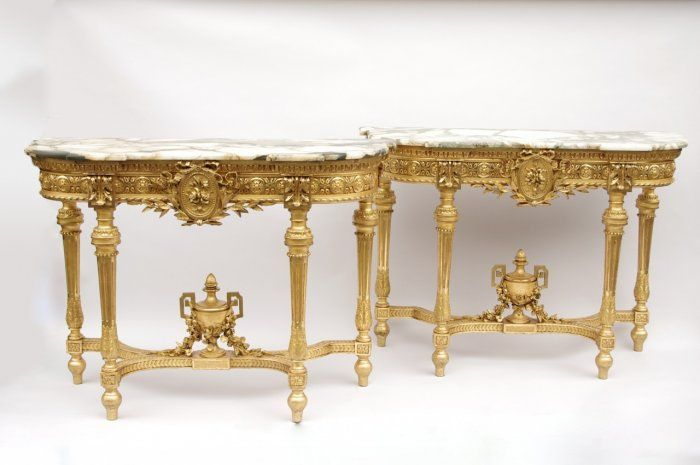 Pair of Louis XVI style gilt wood consoles from Napoléon III period - Jean Luc Ferrand Antiquités #antiques #frenchantiques #marble #antiquites