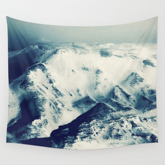 Mountain tapestry blue tapestry mountain by SophieMakesFabrics
