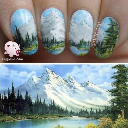 Nail art inspired by Bob Ross #nails #nailart - bellashoot.com & bellashoot iPhone & iPad app