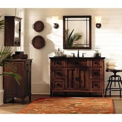 Visit The Home Depot To Buy Home Decorators Collection Artisan 48 In. D  Six Drawer Bath Vanity In Light Oak With Granite Vanity Top In Black  0426310950