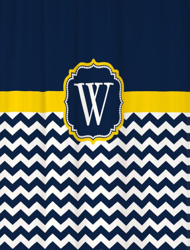 Shower Curtain Chevron YOU CHOOSE COLORS 70, 74, 78, 84, 88 or 96 inch Extra Long Custom Monogram Personalized for You Shown Navy & Yellow by SwirledPeasDesigns on Etsy https://www.etsy.com/listing/157446186/shower-curtain-chevron-you-choose-colors