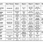 Free! Preschool Calendar Themes.... one page overview of what is taught in preschool including Main themes and  mini themes! .
