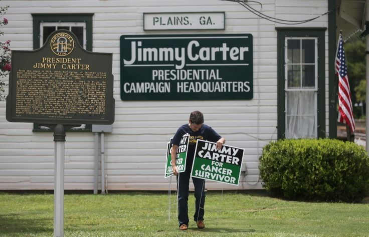 Jimmy Carter campaign signs are popping up again in Georgia, but they have nothing to do with politics