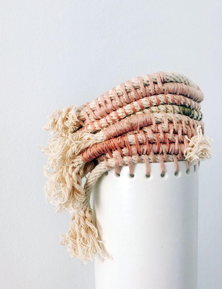 Porcelain and fibre vessel by Lisa Tilse