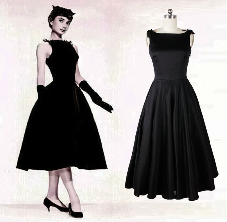 audrey hepburn dresses | Audrey-Hepburn-vintage-style-50s-dresses-little-black-tea-length ...