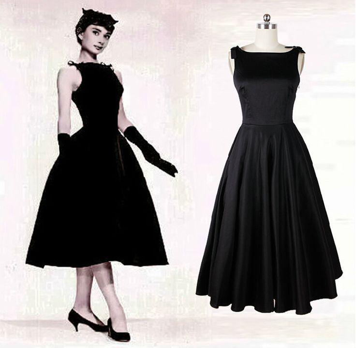audrey hepburn dresses | Audrey-Hepburn-vintage-style-50s-dresses-little-black-tea-length ...