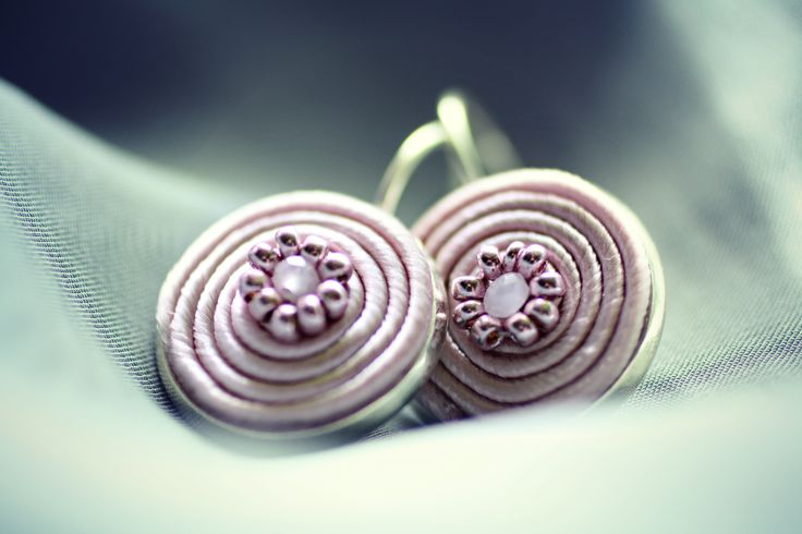 powder pink  soutache earrings