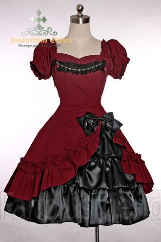 Red and black old-fashioned-style dress. I'm thinking old west prostitute but I'm not sure what this style is really called...