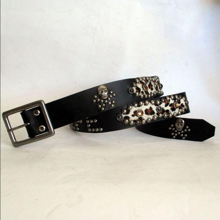 Studded jeweled Rockabilly belt with Leopard inlays