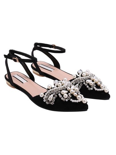 Black Point Toe With Pearl Flat Sandals -SheIn(Sheinside) Mobile Site