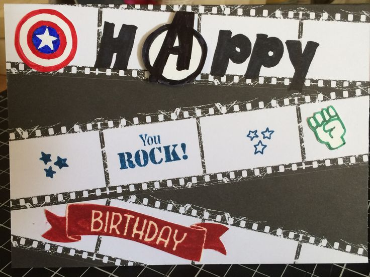 Avengers birthday card - had to design most of that myself, because I had no stamp for it