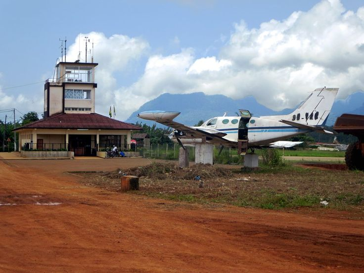 The runway of the Aeroporto do Príncipe, north of Santo Antonio, São Tomé and Príncipe, is currently being upgraded and extended.
