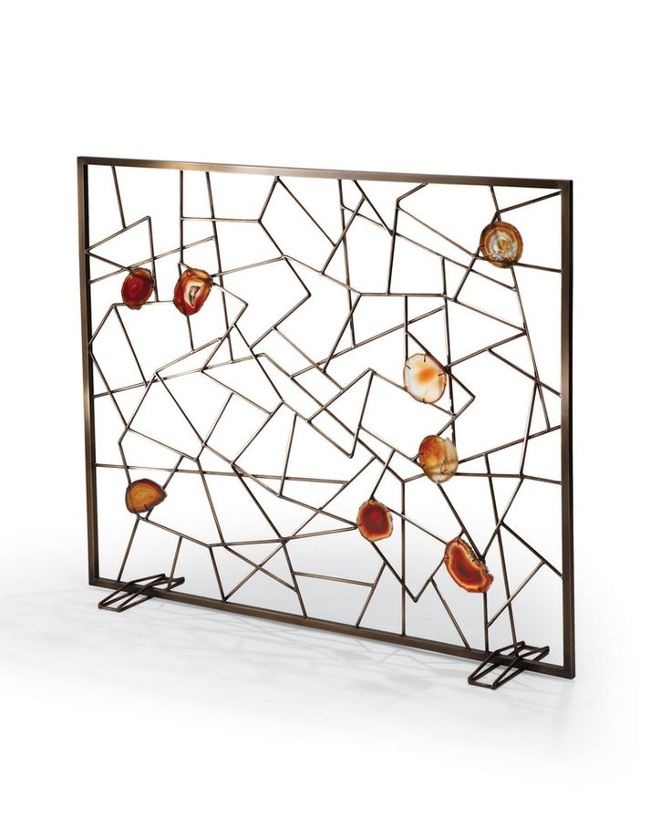 Venice Fireplace Screen  Transitional, MidCentury  Modern, Metal, Stone, Fireplace Element by Tuell  Reynolds
