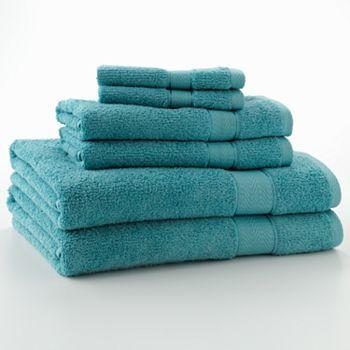 Textured 6-pc. Bath Towel Set - Deep Aqua