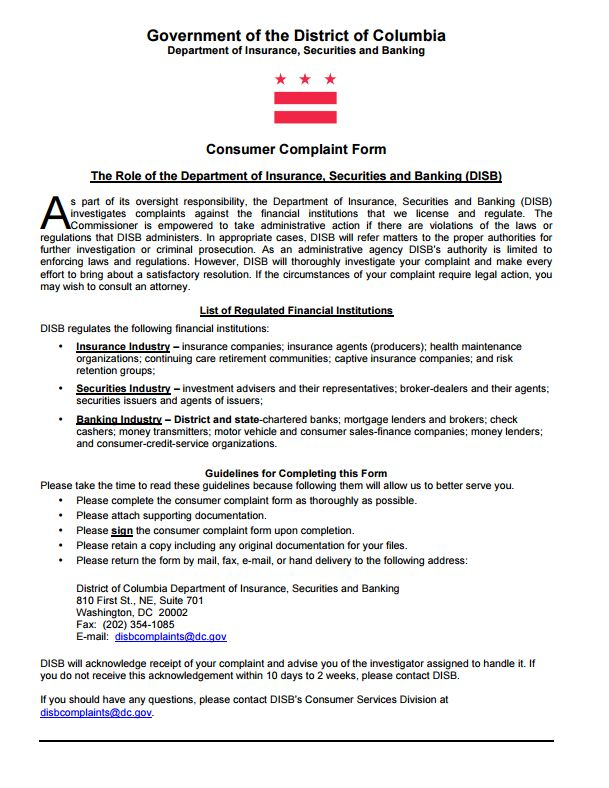 Consumer Complaint Form District Of Columbia Insurance Commissioner  Complaint