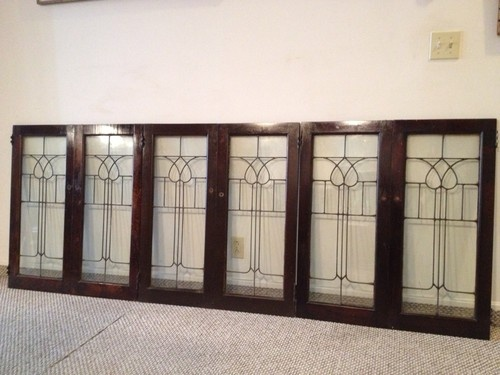Set of 6 Antique Leaded Glass Cabinet Doors | eBay $650. | WT~AS ...