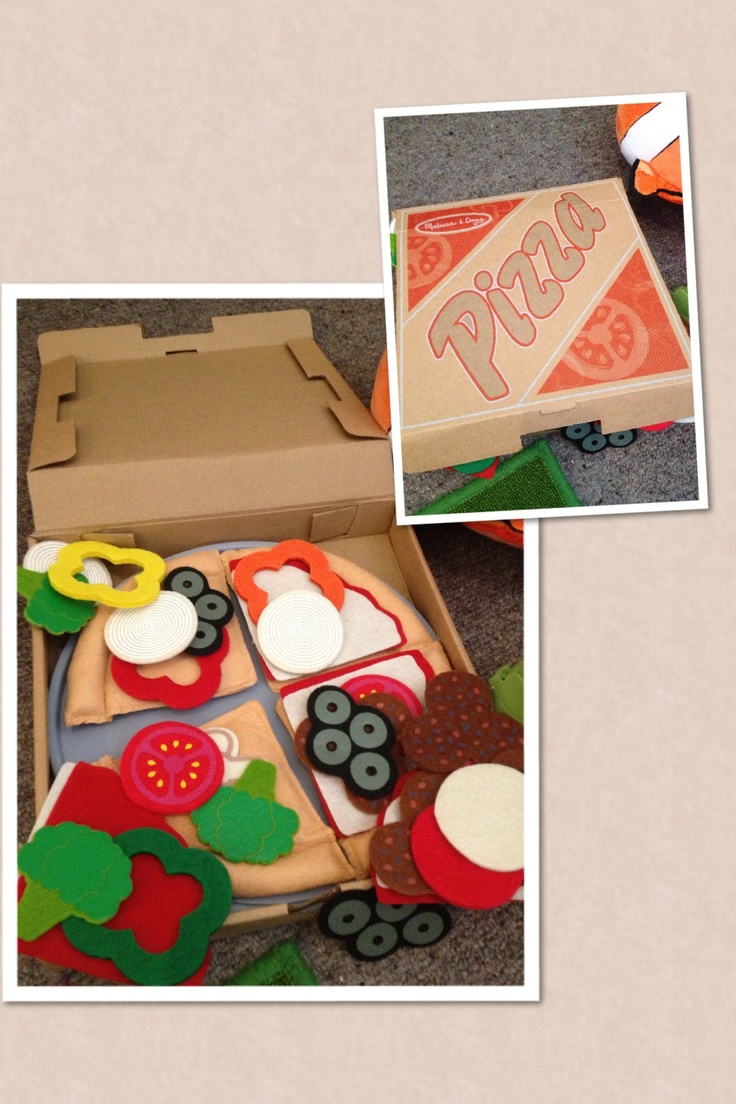 Melissa and Doug pizza felt kit. I am obsessed with their loveable, traditional kids toys.