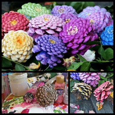 Dollar Store Crafter: Turn Pine Cones Into Beautiful Faux Zinnia Flowers...