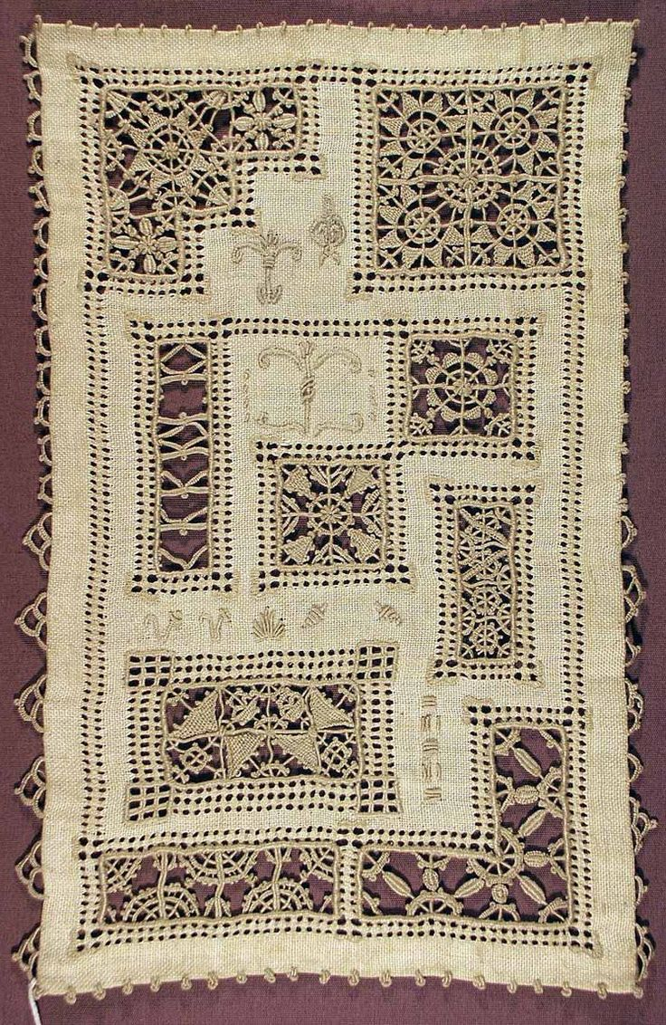 Vintage Lined Drawn Thread Lace Sampler.
